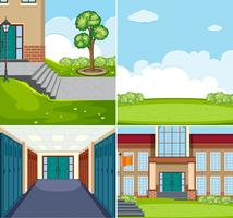Set of school scene vector