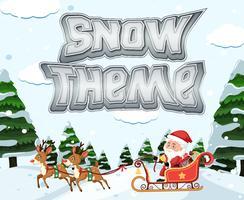 Santa riding sleigh in winter