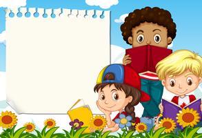 Los niños en la plantilla de nota jardín
