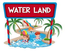 Children at the water land
