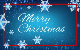 Merry christmas card template with snowflakes in blue sky