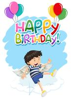 boy with wings happy birthday card
