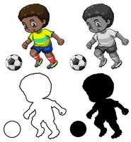 Set van voetbal speler karakter