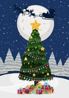 Uma árvore de natal à noite