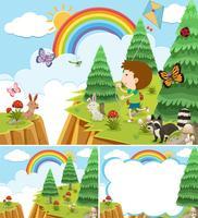 Scènes de la nature avec un garçon et de nombreux animaux