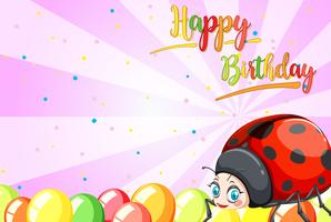 Ladybug on birthday template
