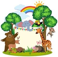 Border template with cute animals in garden vector