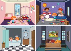 Set of children scenes