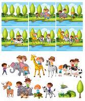 Satz Kinder, die Tier reiten