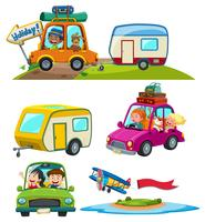 Um conjunto de veículo de viagem
