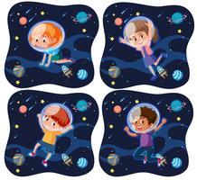 Set of kid exploring space