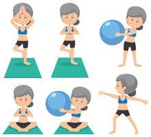 Elderly lady doing different excercise vector