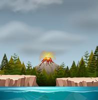 Une scène d'éruption de volcan