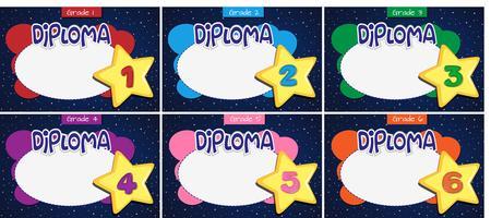 set of different diplomas