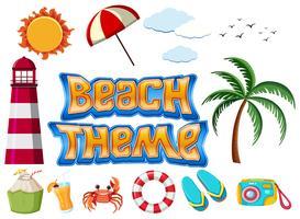 Conjunto de objetos de tema de praia