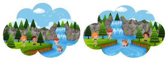 Niños pasando vacaciones en cascada.