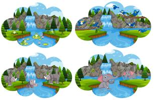 Conjunto de animales en escena del río