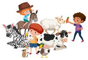 Los niños y muchos animales.