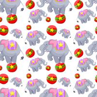 Seamless background design with elephants on balls