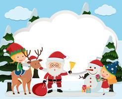 Modelo de fronteira com Papai Noel e crianças