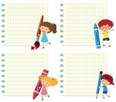 Set of children on note template