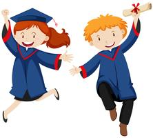 Boy and girl in graduation gown