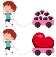 Junge mit rosa Wagen mit Herzformen