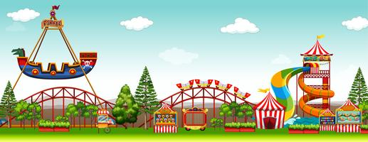 Amusement park scene with rides