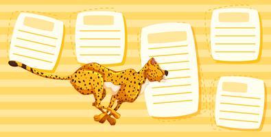 Cheetah loopt op notitie sjabloon
