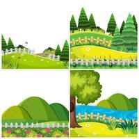 Set of garden nature landscape