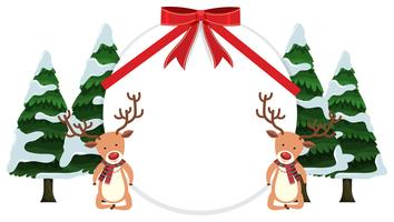Banner redondo com renas e árvores