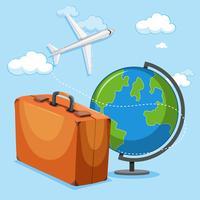 concetto di globo e bagagli dell'aeroplano