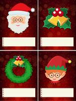 Four christmas template with santa and elf