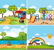 Vier Hintergrundszenen mit Spielplatz im Park