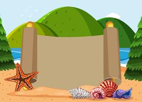 Paper template with seashells and ocean background