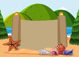 Plantilla de papel con conchas y fondo del océano