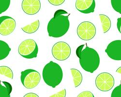 Seamless pattern of fresh lime isolated on white background - Vector illustration