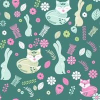 Scandinavian folk art pattern with birds and flowers  vector