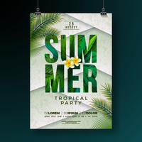 Vector Summer Party Flyer Design with Flower and Tropical Palm Leaves on Abstract Background. Summer Holiday Illustration with Exotic Plants and Typography Letter for Banner, Flyer, Invitation or Poster.