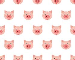 Vector illustration of  cute face pigs isolated on white background.