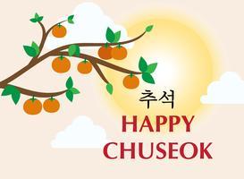 Illustrazione di vettore dell'insegna del modello di Chuseok o di Hangawi - il giorno di ringraziamento coreano