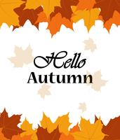 Hello autumn sale banner template with colorful fall leaves background