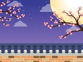 Mid Autumn Festival (Chuseok) - Recinzione muro in pietra in stile coreano con albero di acero e luna piena su sfondo