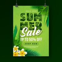 Sommerschlussverkauf-Plakat-Design-Schablone mit Blume und exotischen Blättern auf grünem Hintergrund. Tropische Blumenvektor-Illustration mit Sonderangebot-Typografie für Kupon