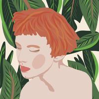 Mode der jungen Frauen des Porträtart-Mädchens mit Betriebsvektorillustration