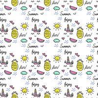 Doodle lindo patrón de verano