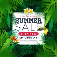 Summer Sale Design with Toucan Bird, Tropical Palm Leaves and Flower on Green Background. Vector Special Offer Illustration with Summer Holiday Elements for Coupon