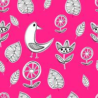 Simple Scandinavian birds pattern primitive vector