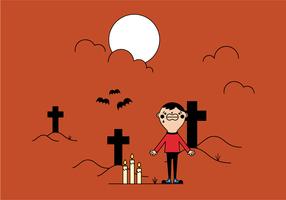 Gratis jongen in begraafplaats vector