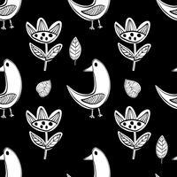 Simples aves escandinavas padrão vector primitivo